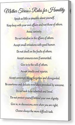 Canvas Print featuring the photograph Mother Theresa's Rules For Humility by Jocelyn Friis
