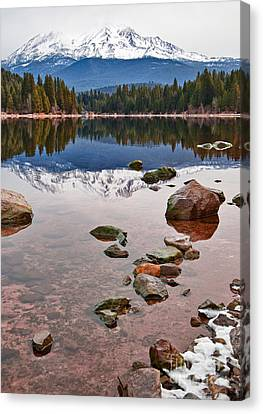 Mount Shasta Reflection -  Lake Siskiyou In California With Reflections. Canvas Print by Jamie Pham