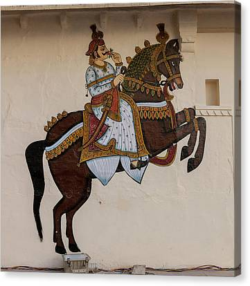 Mural City Palace Shiw Nivas Palace Canvas Print by Tom Norring