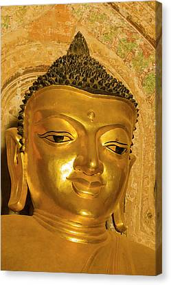 Myanmar Bagan Htilominlo Temple Golden Canvas Print by Inger Hogstrom