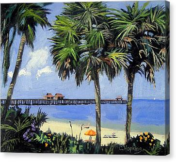 Naples Pier Naples Florida Canvas Print by Christine Hopkins