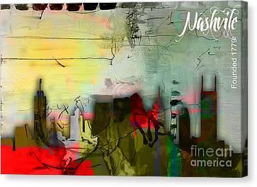 Nashville Skyline Watercolor Canvas Print