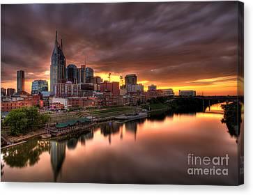 Downtown Nashville Canvas Print - Nashville Tn Skyline  by Jeremy Holmes
