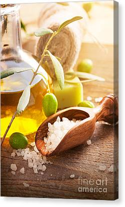 Natural Spa Setting With Olive Oil. Canvas Print