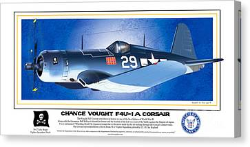 Canvas Print featuring the drawing Navy Corsair 29 by Kenneth De Tore