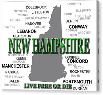 New Hampshire State Pride Map Silhouette  Canvas Print by Keith Webber Jr