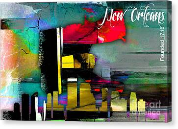 Skyline Canvas Print - New Orleans Map And Skyline Watercolor by Marvin Blaine