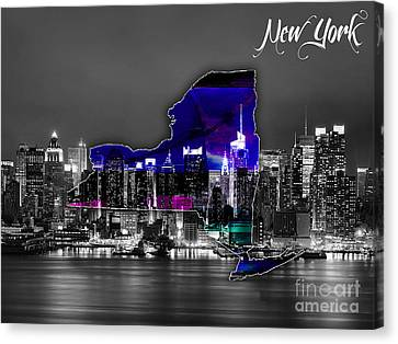 New York Map And Skyline Watercolor Canvas Print by Marvin Blaine