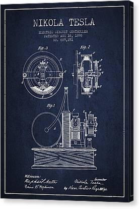 Nikola Tesla Electric Circuit Controller Patent Drawing From 189 Canvas Print by Aged Pixel