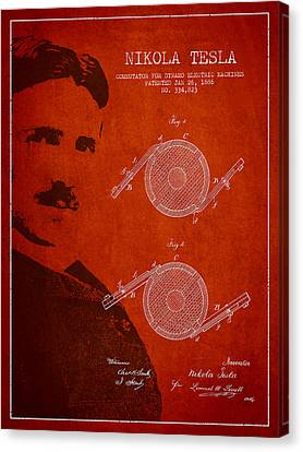 Nikola Tesla Patent From 1886 Canvas Print by Aged Pixel