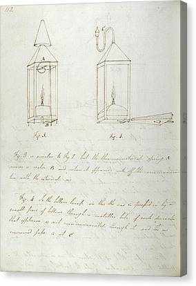 Notes On Davy Safety Lamp Canvas Print by Royal Institution Of Great Britain