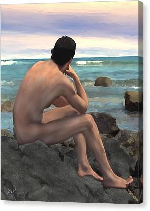 Nude Male By The Sea Canvas Print