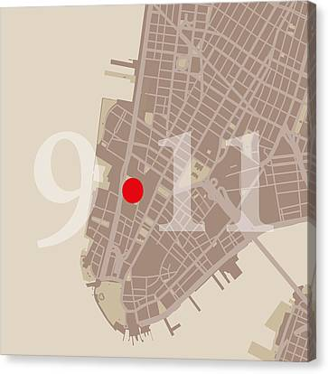 Nyc Map Twin Towers 9/11 Canvas Print by Big City Artwork