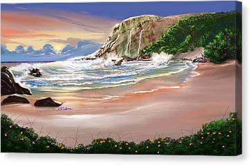 Ocean's Last Light Canvas Print by Anthony Fishburne