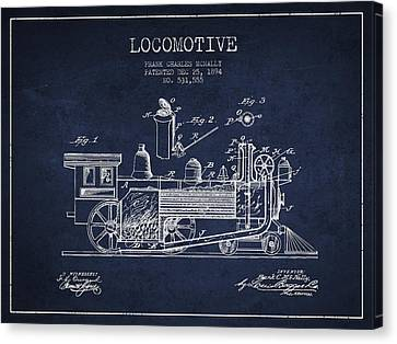 ocomotive Patent drawing from 1894 Canvas Print by Aged Pixel