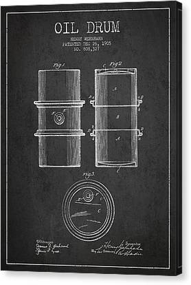 Oil Drum Patent Drawing From 1905 Canvas Print by Aged Pixel