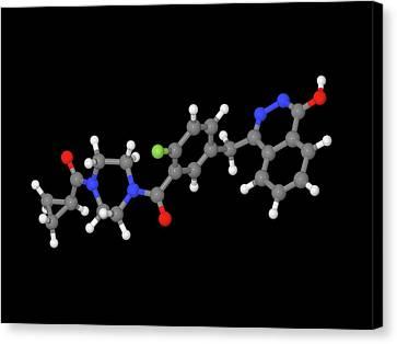 Olaparib Ovarian Cancer Drug Molecule Canvas Print by Dr Tim Evans
