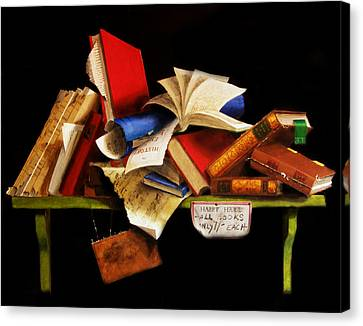 Canvas Print featuring the painting Old Books For Sale by Barry Williamson