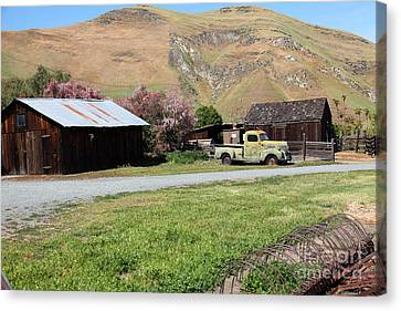 Old Dodge Truck At Ranch Along The Rolling Hills Landscape Of The Black Diamond Mines In Antioch Cal Canvas Print by Wingsdomain Art and Photography