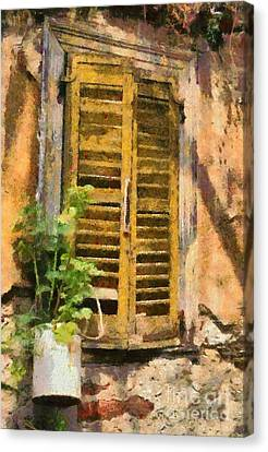 Old House In Plaka Area Of Athens Canvas Print by George Atsametakis