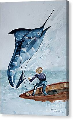 Old Man And The Sea Canvas Print by Barbara McMahon
