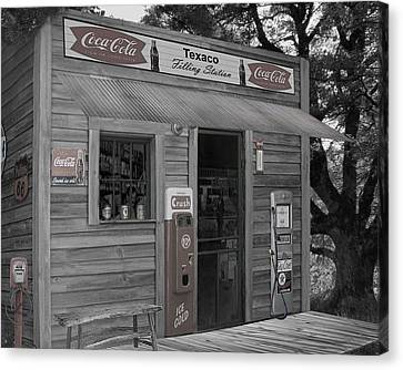 Grocery Store Canvas Print - Old Service Station by Barry Westmoreland