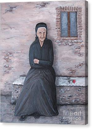 Old Woman Waiting Canvas Print by Judy Kirouac