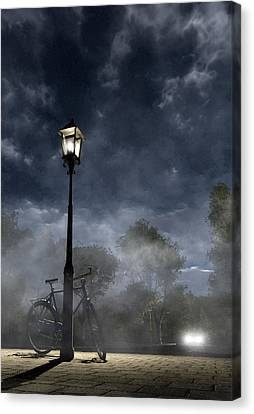 Night Canvas Print - Ominous Avenue by Cynthia Decker
