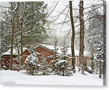 Canvas Print featuring the photograph One Snowy Day  by Ann Murphy