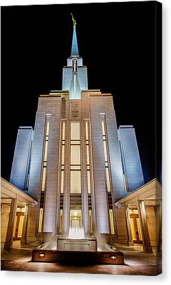 Fog Mist Canvas Print - Oquirrh Mountain Temple 1 by Chad Dutson