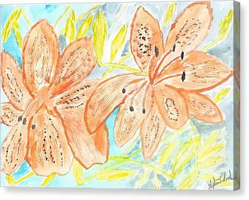Orange Canna Lilies Canvas Print by Stephen Kook