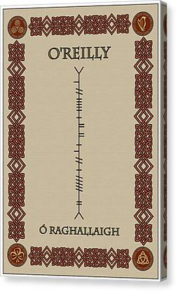 Canvas Print featuring the digital art O'reilly Written In Ogham by Ireland Calling
