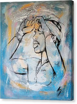 2 Pactupac Shakur Painting Art Poster Canvas Print by Kim Wang