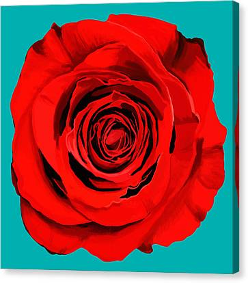 Painting Of Single Rose Canvas Print by Setsiri Silapasuwanchai