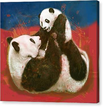 Panda Canvas Print - Panda Mum With Baby - Stylised Drawing Art Poster by Kim Wang