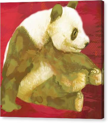 Panda - Stylised Drawing Art Poster Canvas Print by Kim Wang