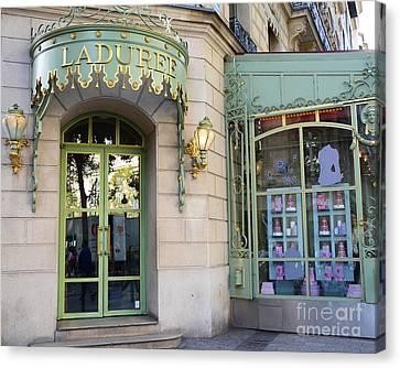 Patisserie Canvas Print - Paris Laduree Macaron French Bakery Patisserie Tea Shop - Champs Elysees - The Laduree Patisserie by Kathy Fornal