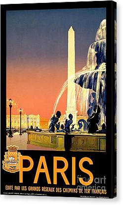 Paris Vintage Travel Poster Canvas Print by Jon Neidert
