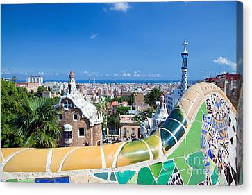 Park Guell In Barcelona Canvas Print by Michal Bednarek