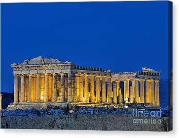Parthenon In Acropolis Of Athens During Dusk Time Canvas Print by George Atsametakis
