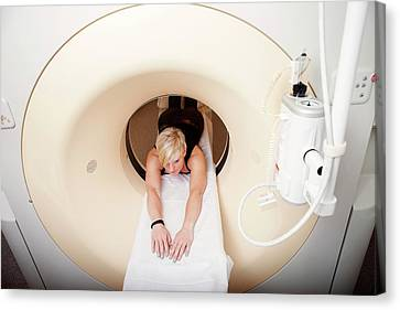 Patient In Ct Scanner Canvas Print by Thomas Fredberg