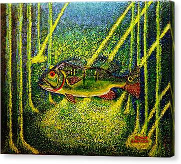 Canvas Print featuring the painting Peacock Bass.sculpture. by Viktor Lazarev