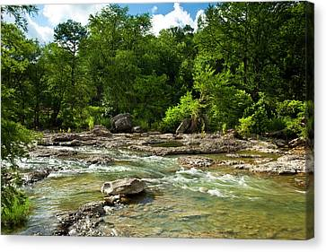 Pedenales River On A Fine Summer Morning Canvas Print by Mark Weaver