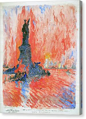 Burning Statue Canvas Print - Pennell New York City by Granger