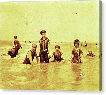 People At Sea North Sea, The Netherlands Or Germany Canvas Print