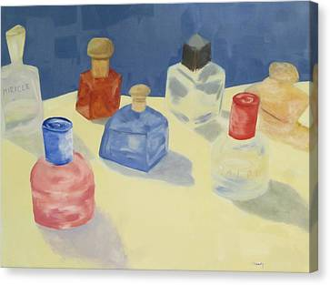 Canvas Print featuring the painting Perfume Bottles by Patricia Cleasby