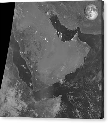 Persian Gulf At Night, Satellite Image Canvas Print by Science Photo Library