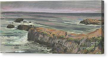 Canvas Print featuring the painting Pescadero Beach by Donald Maier
