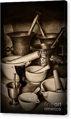 Pharmacy - Mortars And Pestles - Black And White Canvas Print by Paul Ward