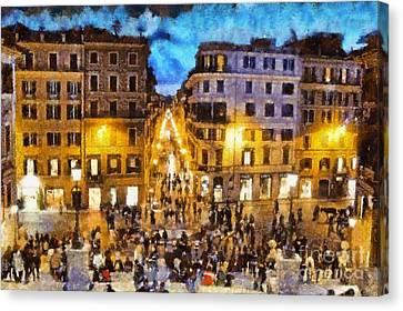 Historical Canvas Print - Piazza Di Spagna In Rome by George Atsametakis